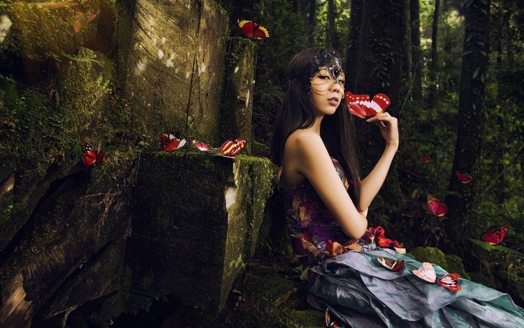 forest, girl, sitting, butterfly, asian