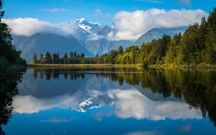 the sky, clouds, lake, mountains, forest, reflection, new zealand, alps, lake matheson