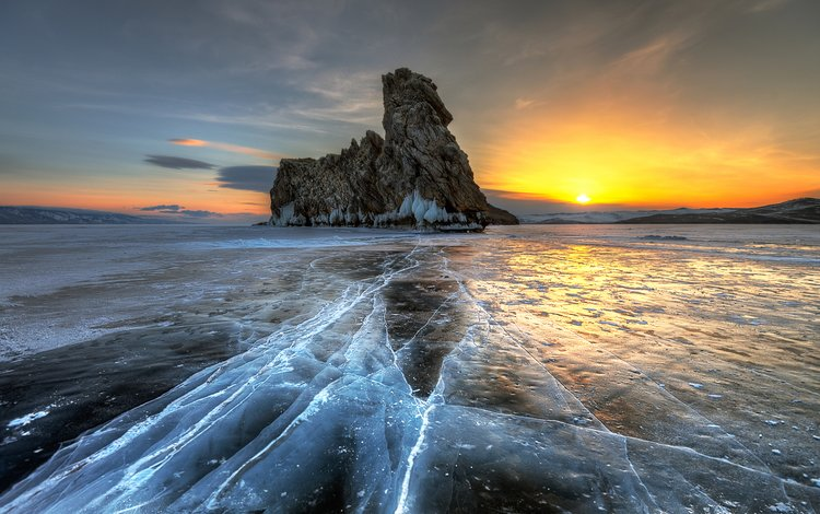 clouds, lake, rocks, the sun, dawn, ice, russia, baikal, eduard gordeev, agoi