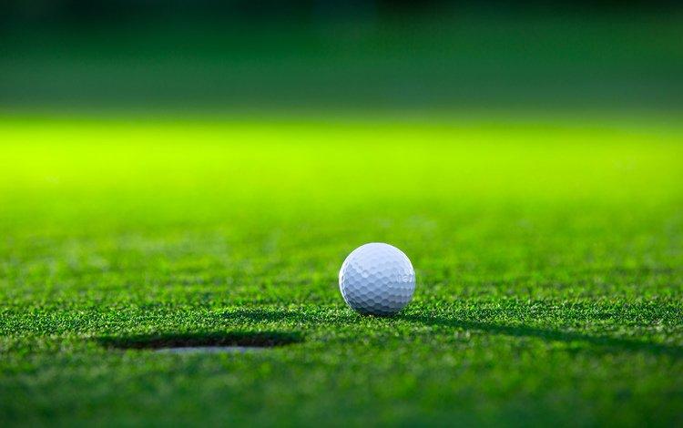 grass, field, the ball, golf, lawn, hole