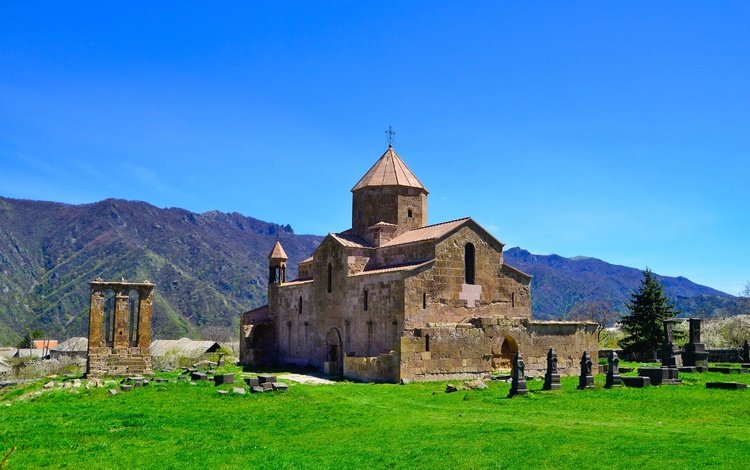 the sky, mountains, the monastery, armenia, odzun