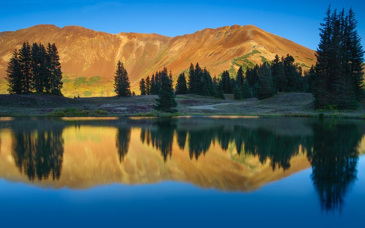 the sky, trees, lake, mountains, reflection, colorado, national park