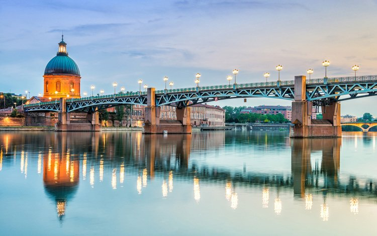 bridge, the city, france, toulouse, pont saint-pierre