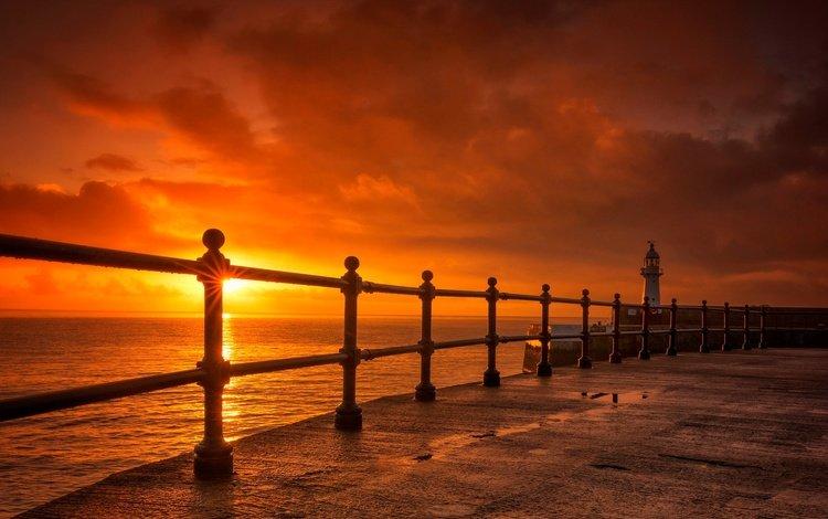 небо, корнуолл, облака, закат, маяк, горизонт, ограждение, англия, зарево, the sky, cornwall, clouds, sunset, lighthouse, horizon, the fence, england, glow