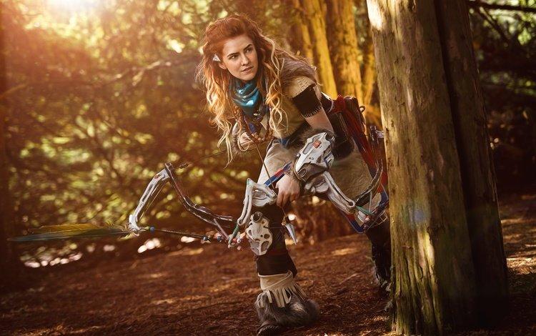 девушка, оружие, рыжая, лук, игра, стрела, охотник, косплей, girl, weapons, red, bow, the game, arrow, hunter, cosplay