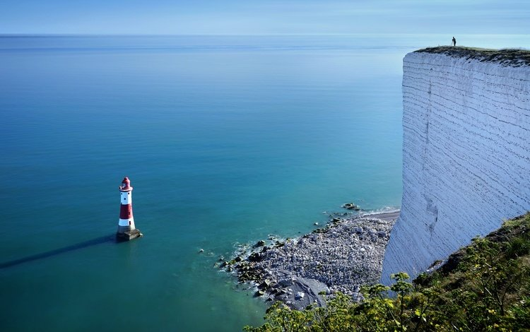 shore, sea, lighthouse, england, united kingdom, beachy head