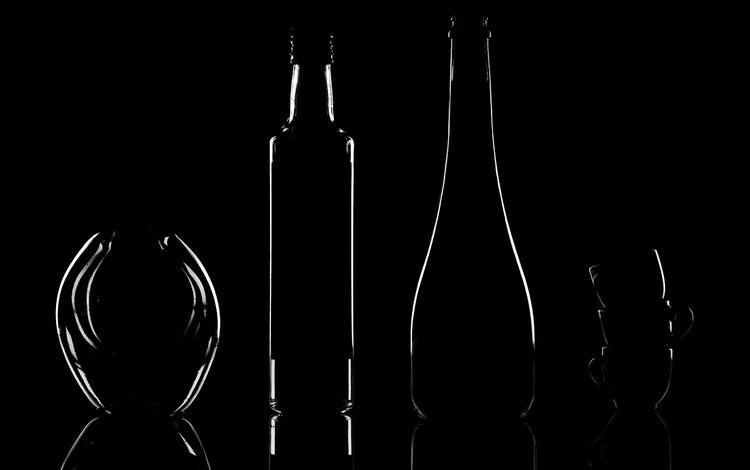 form, black background, silhouette, dishes, bottle, cup, vases