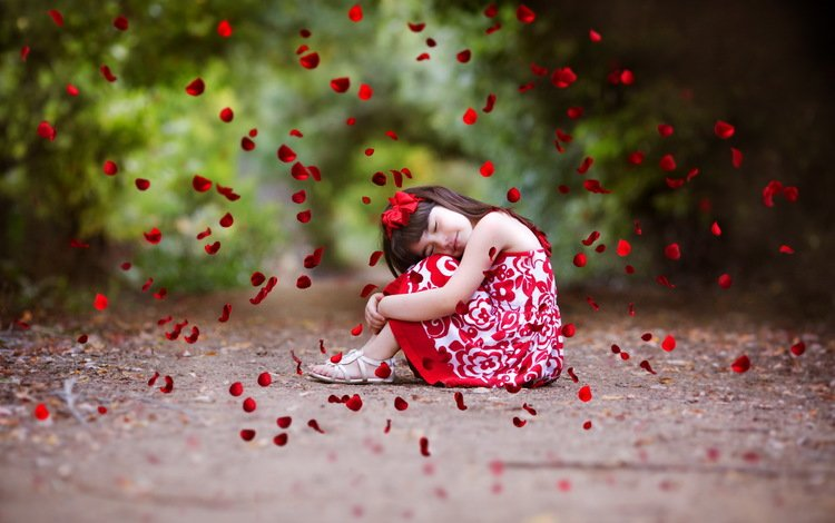 mood, summer, petals, girl, red rose, closed eyes