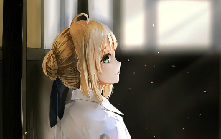 eyes, girl, blonde, portrait, anime, costume, tape, shirt, the night of arrival