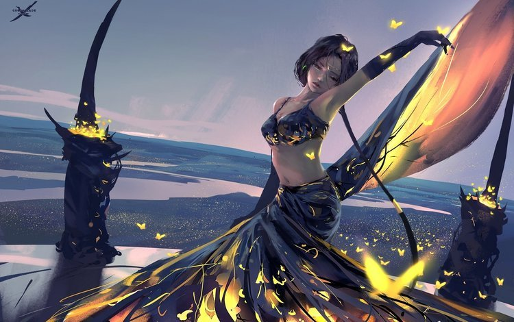 девушка, пейзаж, бабочка, искусство, призрачный клинок, by wlop, girl, landscape, butterfly, art, ghost blade