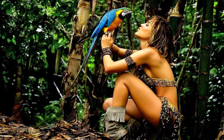 nature, girl, model, bird, tropics, parrot, amazon