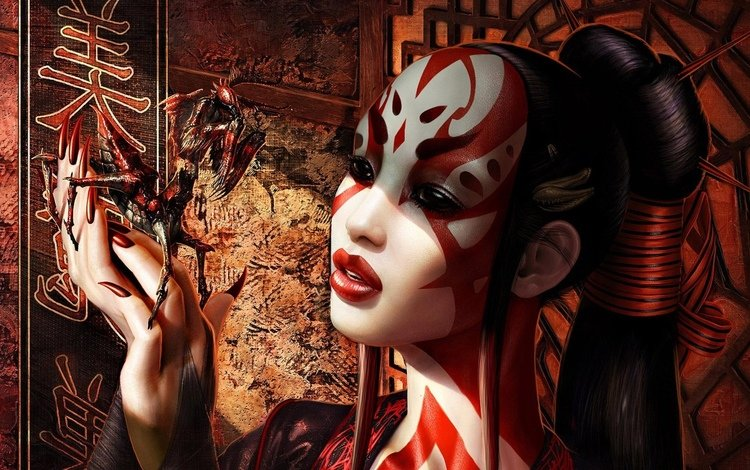 figure, girl, look, japan, graphics, hair, face, geisha, mantis