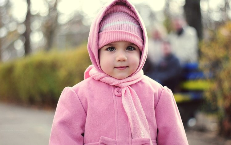 look, children, girl, face, child, hat, coat