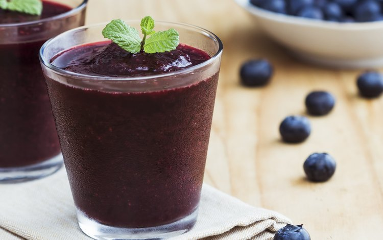 мята, ягоды, черника, стаканы, смузи, mint, berries, blueberries, glasses, smoothies