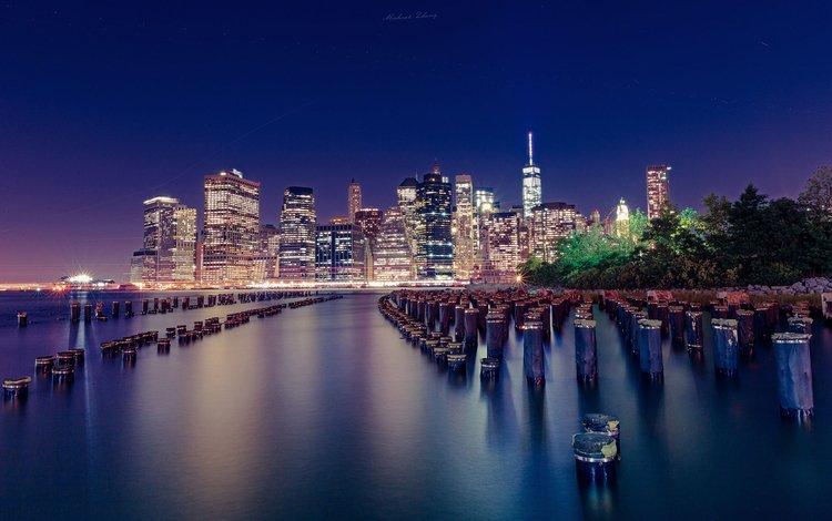 night, lights, the city, usa, new york