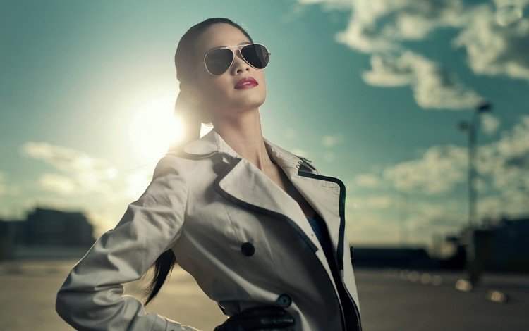 girl, glasses, model, red lipstick, coat, sunlight