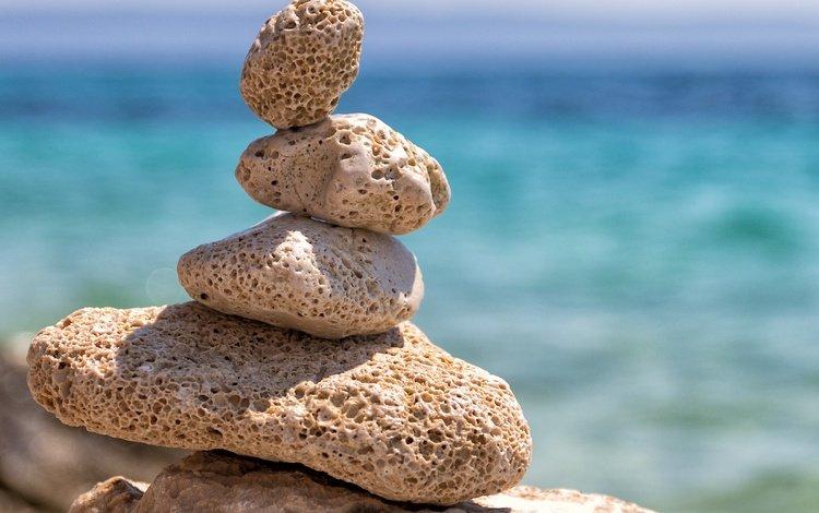 stones, sea, blur, pebbles, balance