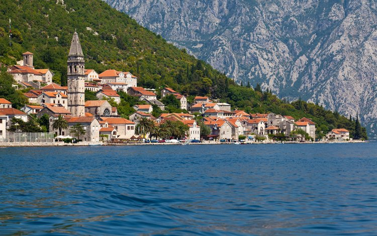 mountains, sea, the city, coast, home, montenegro, perast