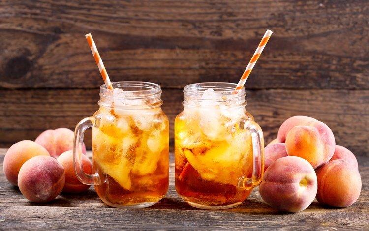 drink, fruit, ice, mugs, peaches, tea, tube