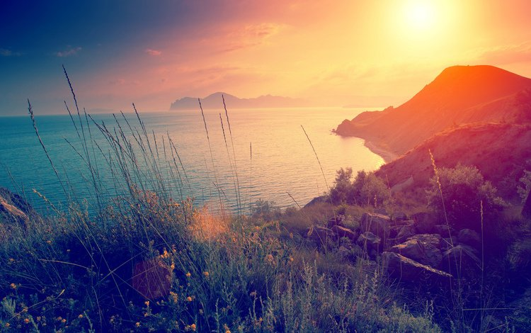 the sky, flowers, grass, clouds, mountains, stones, shore, sunset, sea