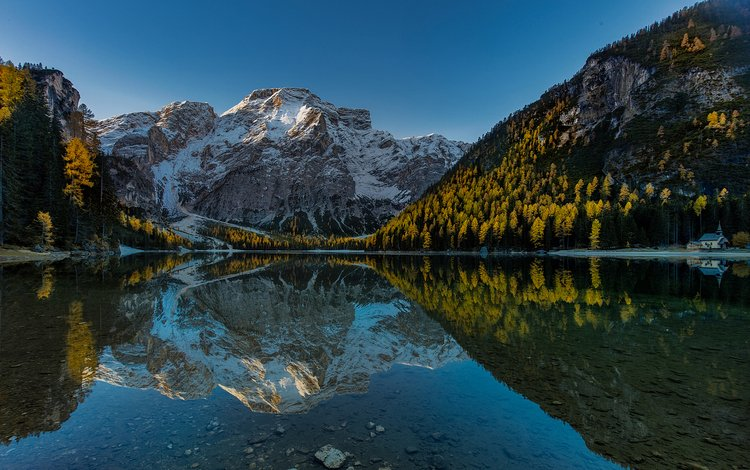 the sky, lake, mountains, nature, forest, reflection