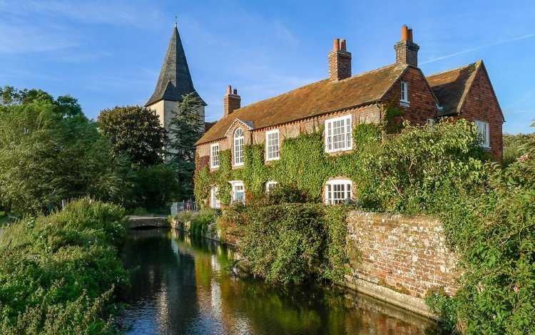 trees, water, greens, house, england, tower, church, sussex