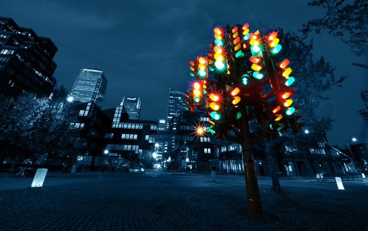 light, night, uk, london, the city, skyscrapers, windows, crossroads, traffic light, traffic lights
