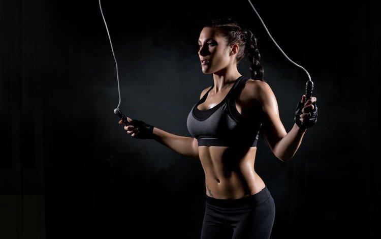 девушка, модель, черный фон, фитнес, спортивная одежда, тренировки, скакалка, girl, model, black background, fitness, sports wear, workout, jump rope