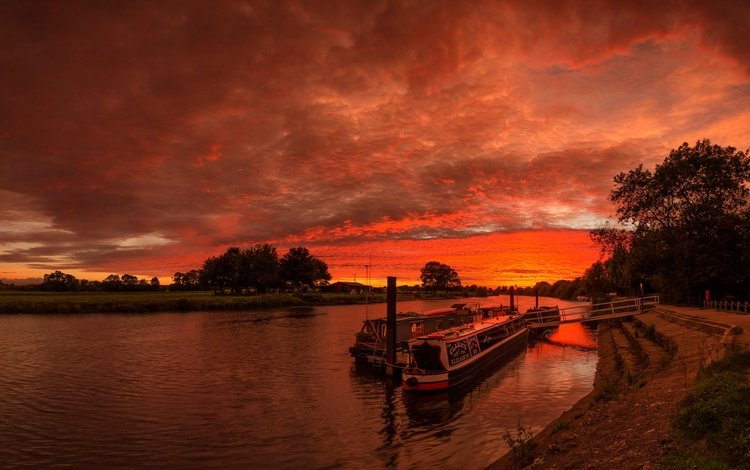 river, ship, england, glow, derbyshire