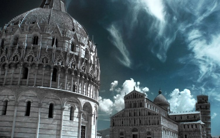 cathedral, tower, italy, pisa, infrared the, the baptistery