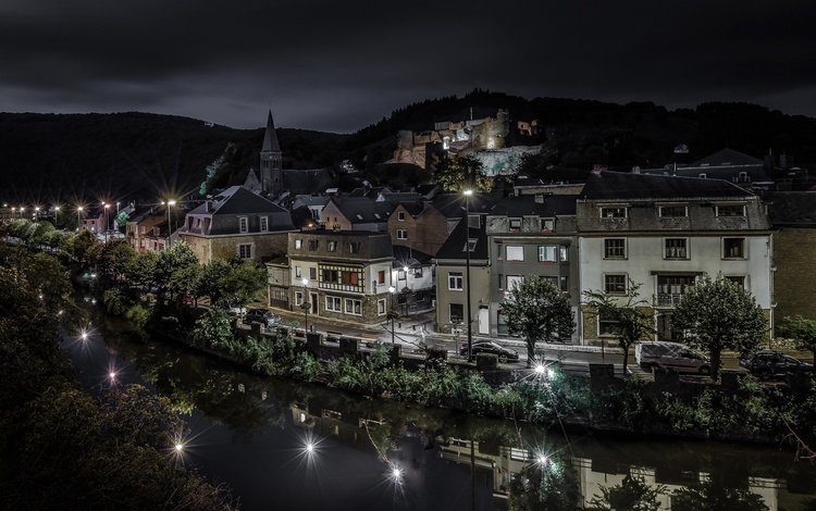 night, lights, river, home, belgium, la roche-en-ardenne