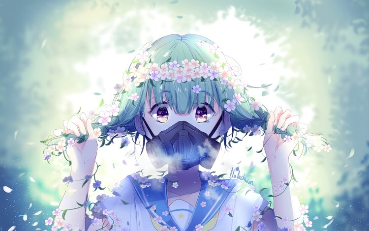 flowers, gas mask, short hair, school uniform, anime girl