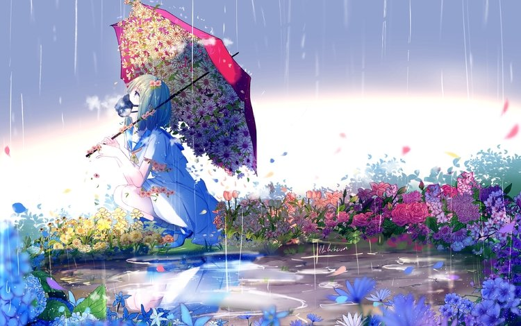 flowers, girl, anime, rain, umbrella, gas mask
