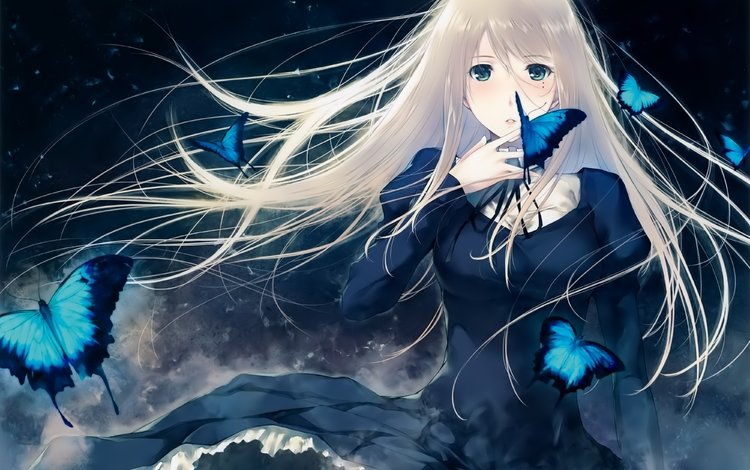 butterfly, black dress, long hair, white hair, anime girls