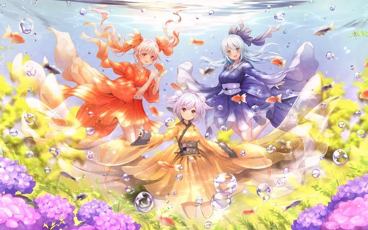 flowers, smile, bubbles, fish, anime, girls, under water
