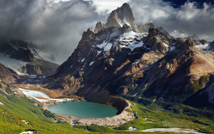 lake, mountains, clouds, argentina