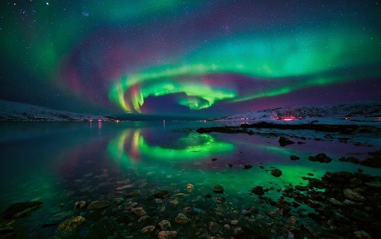 water, stones, stars, northern lights, norway, polar lights