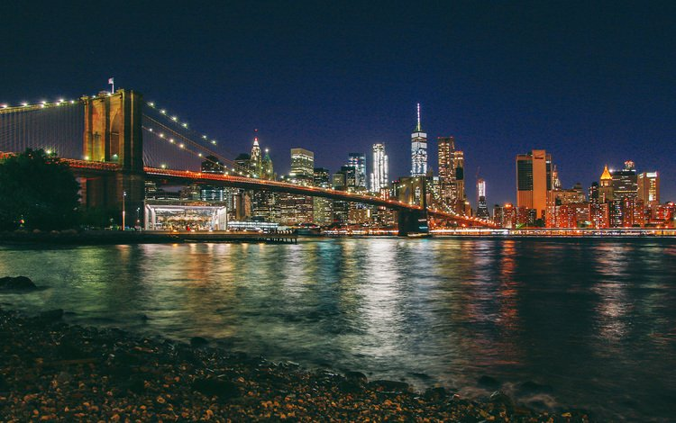 night, new york, manhattan, brooklyn bridge