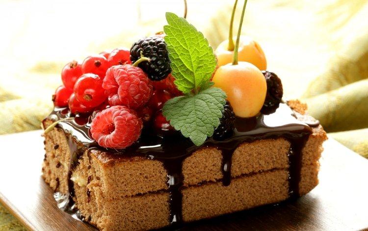mint, raspberry, berries, cherry, chocolate, blackberry, currants, cake