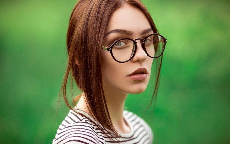 eyes, girl, glasses, hair, face, photoshoot