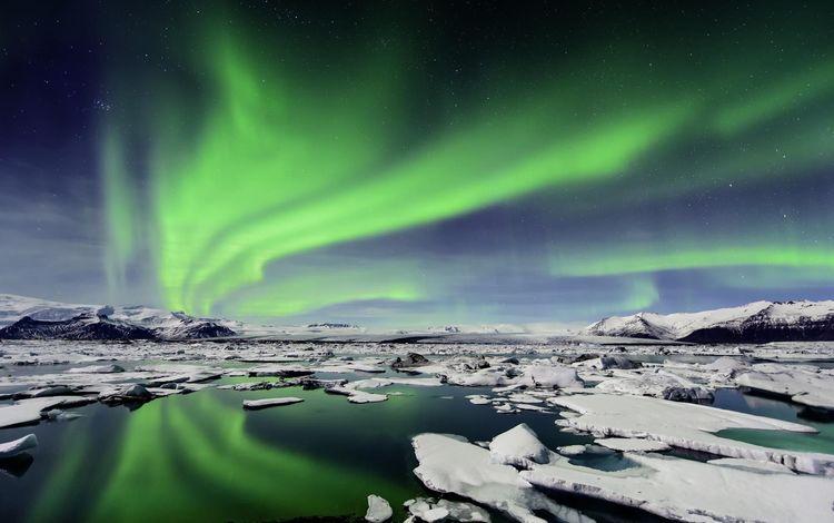 water, sea, ice, northern lights