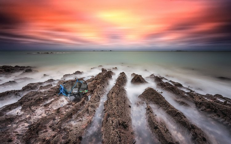 shore, sunset, sea, france, brittany, ludovic lagadec, lanruen beach
