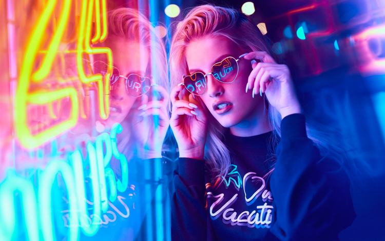 neon, girl, reflection, blonde, portrait, look, hair, face, makeup, sunglasses