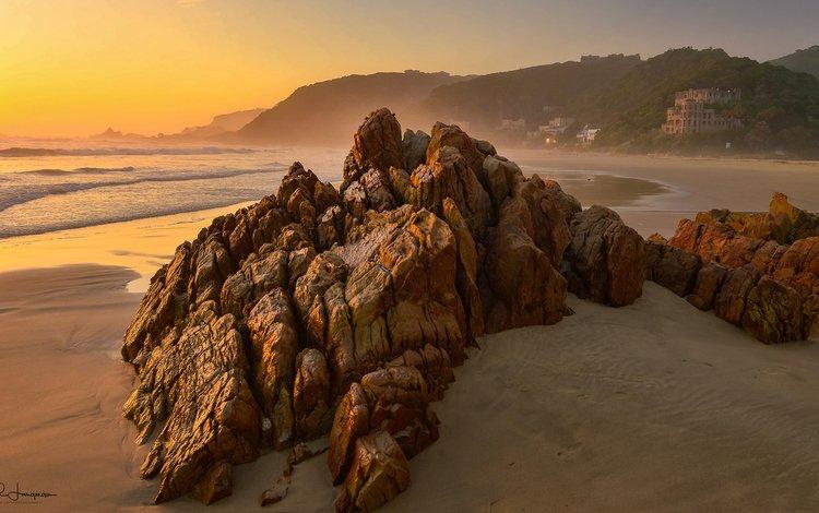 горы, побережье, скалы, океан, волны, leigh langman, закат, пейзаж, море, песок, пляж, mountains, coast, rocks, the ocean, wave, sunset, landscape, sea, sand, beach