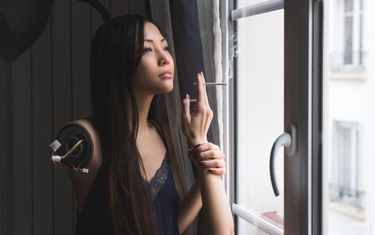 девушка, цифровое искусство, дым, niko photographisme, робот, лицо, окно, руки, сигарета, азиатка, girl, digital art, smoke, robot, face, window, hands, cigarette, asian