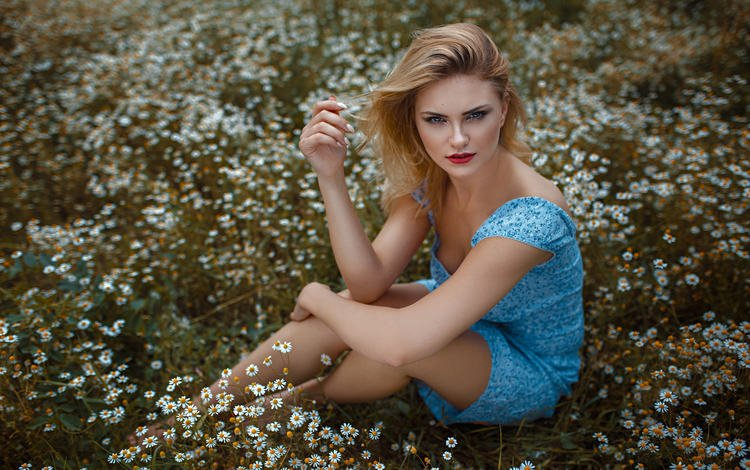 nature, girl, dress, field, summer, look, chamomile, hair, face, sitting, damian piórko