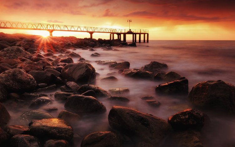 sunrise, the sun, stones, landscape, beach, horizon, pierce, spain, sunlight, anto camacho, castellon
