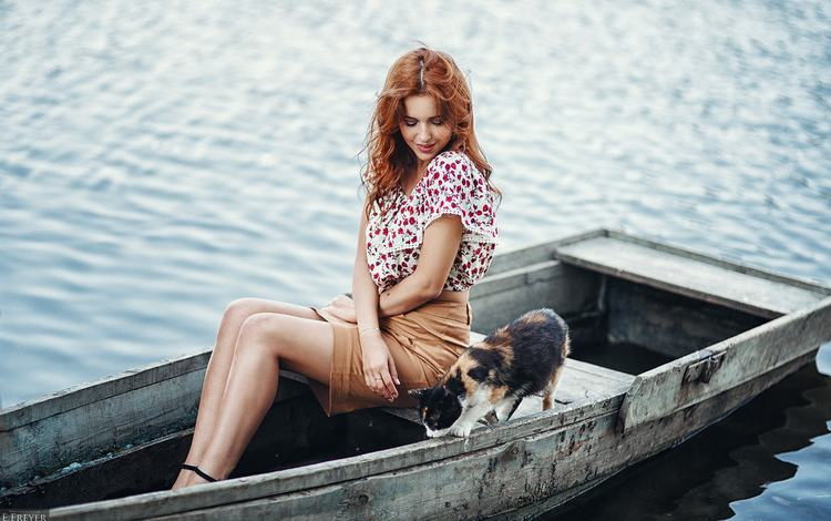 water, girl, mood, smile, cat, look, boat, hair, lera, evgeny freyer