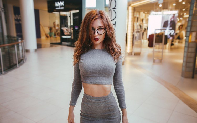 girl, portrait, look, glasses, red, skirt, model, red lipstick, photoshoot, long hair
