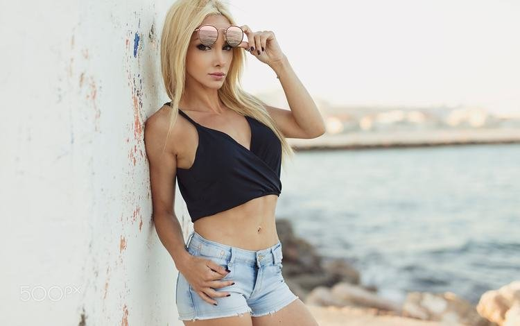 girl, blonde, portrait, wall, belly, denim shorts, sunglasses